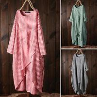 UK 8-24 Women Check Plaid Long Sleeve Asymmetric Hem Loose Tops Shirt Dress Plus