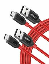 Anker [2-Pack, 6ft] PowerLine+ USB-C to USB-A, Double-Braided Nylon Fast Char...