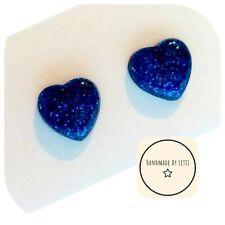 GLITTER 💖 hearts Handmade Stud Earrings ❤️ sapphire blue ❤️ 12mm
