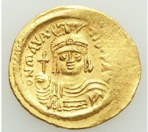 582-602 AD BYZANTINE MAURICE TIBERIUS GOLD AV SOLIDUS (22MM, 4.51 GRAM, 7H)