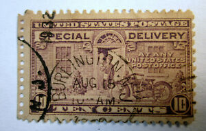 US Used Motorcycle E15 10c Special Delivery Stamp Burlington New Jersey NJ Aug