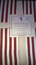 New Pottery Barn Kids NAUTICAL Red Stripe Organic Twin DUVET Herringbone