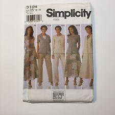 Simplicity 5104 Size 10-18 Misses' Top Jacket Pants Shorts