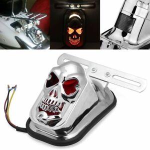 Skull Motorcycle Tail Brake Stop Light License Plate Bracket For Harley Bobber