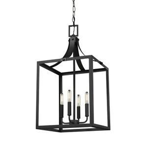 Sea Gull Lighting Labette 4-Light Black Hall-Foyer Pendant 5340604-12
