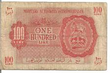 LIBYA, 100 LIRE, P#M6a, British occupation WWII in TRIPOLITANIA, 1943