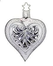 Inge Glas Silver Elegant Heart 1-369-15 German Blown Glass Christmas Ornament