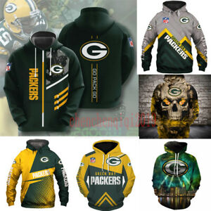 Green Bay Packers Hoodie Fan's Hooded Pullover Sweatshirt Casual Jacket Coat