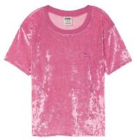 VICTORIA'S SECRET PINK Crushed VELVET CROPPED Crop Ringer TEE T-shirt Top NEW XS