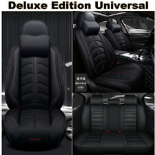 Car Seat Cover 5-Seats Front+Rear Cushion Full Set Luxury PU leather W/Pillow