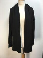 NWT COS black fine knit wool open waterfall draped shawl cardigan side buttons L
