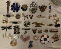 Huge Lot of 36 Vintage & Modern Brooches Pins Figural Floral Large & Small