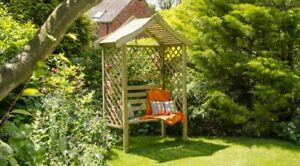 Wooden Garden Arbour Seat with Side Trellis Pressure Treated Free Delivery