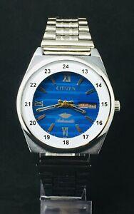 Beautiful CITIZEN Automatic 21 Jewels Sky Blue Dial Men's Wrist Watch Day & Date