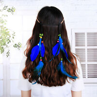 Peacock Feather Headband Handmade Weave Hair Rope Headpiece Hiairband Accessory