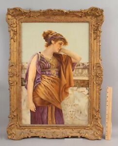 1899 Antique 19thC R. Riley Neoclassical Greek/Roman Woman Portrait O/C Painting