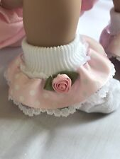 White Baby Girls Lace Frill Socks Wide Pink Ribbon Rosebud Trim 6-12 months