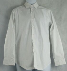 Alfani Men's AlfaTech Slim-Fit Stretch Dress Shirt, White Cube, S 14-14.5, 32/33