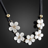 Women Hot Crystal Flower Charm Choker Chunky Statement Bib Chain Necklace