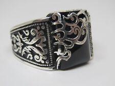 Turkish Handmade Jewelry 925 Sterling Silver Onyx Stone Men's Ring Sz 10