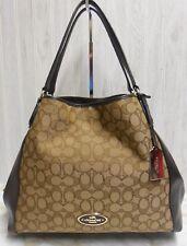 Coach 33523 Edie Shoulder Bag in Signature Jacquard and Leather Trim Khaki/Brown