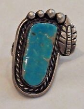 Vintage Native American Old Pawn Silver and Turquoise Ring in Size 6
