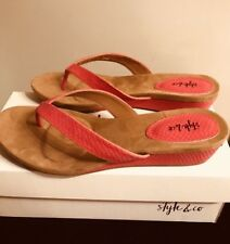 New Style & Co Haloe2 Red Hot Thong Sandals 8.5M