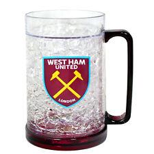 WEST HAM UNITED FC FREEZER MUG TANKARD ICE COLD BEER DRINK GLASS NEW XMAS GIFT