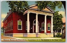 Historical Museum & Wood Library, Canandaigua, New York Linen Postcard Unused