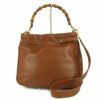 Sale! GUCCI Vintage Bamboo Leather 2WAY Shoulder Hand Bag Italy F/S 11181b