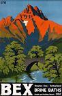 "Vintage Illustrated Travel Poster CANVAS PRINT Bex Switzerland 8""X 10"""