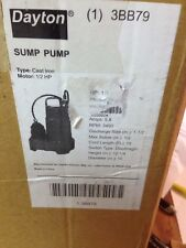 "DAYTON 3BB79 Sump Pump, 1/2 HP, 1-1/2"" NPT, 15 ft Submersible 115 V AC Cast Iron"