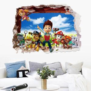 3D Wand Riss PAW Patrol Aufkleber Wandtattoo Sticker Wandbild Kinder Zimmer Deko