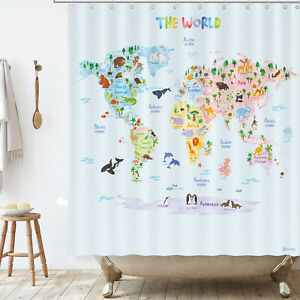 BASHOM BSC-615 Animal World Map Shower Curtain set for kids Bathroom 180x180cm