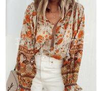 M Boho Floral Long Sleeve Gypsy Blouse Vtg 70s Insp Top Womens Size MEDIUM NWT