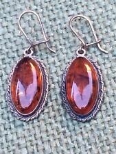 Vintage Sterling Silver & Baltic Amber Dangle Earrings