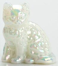 Kitten - Mother of Pearl White Milk Carnival Glass Cat - Mosser USA