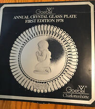 "1978 Goebel Annual Crystal Glass 8 1/2""Plate- 1st Ed.Charlottenhutte-German y-New"