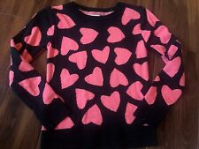 girls CIRCO SWEATER pink hearts NAVY L/S winter shirt WARM THICK nice! SIZE 6 6X