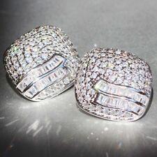 Stud 925 Silver Filled lovers earrings 1pair Woman's White Sapphire Long Ear