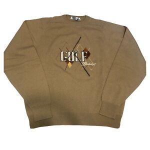 Burberrys Men's Vintage 100% Wool Brown Golf Logo Pullover Sweater Size 46