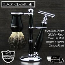 Luxury Wet Shaving Gift Set Kit - Double Edge Safety Razor, Badger Brush & Stand