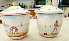 "Veuve Perrin VP France Faience ""Seau a Bouteille"" Hand Painted Two Jam Jars Lids"