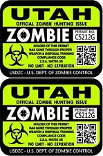 """ProSticker 1254 (Two) 3""""x 4"""" Utah Zombie Hunting License Decals Stickers"""