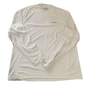 Simms Mens Solarflex UPF 50 White Long Sleeve Shirt Crewneck Fishing Size L Men