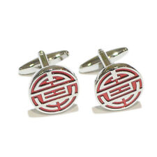 Silver Red Chinese Longevity SHOU Symbol Christmas Present GIFT Box CUFFLINKS