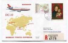 FFC 1974 Swissair Special Flight Bombay Tokyo Express REGISTERED Liechtenstein