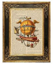 Hot Air Balloon Flying Airship #1 Art Print on Antique Book Page Vintage Illust
