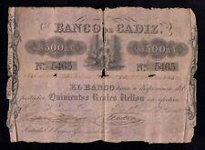 F.C.  BANCO DE CADIZ , 500 REALES 1ª EMISIÓN , B/C- .