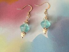 Handmade Disney bounding Cinderella blue glass and pearl dangle earrings